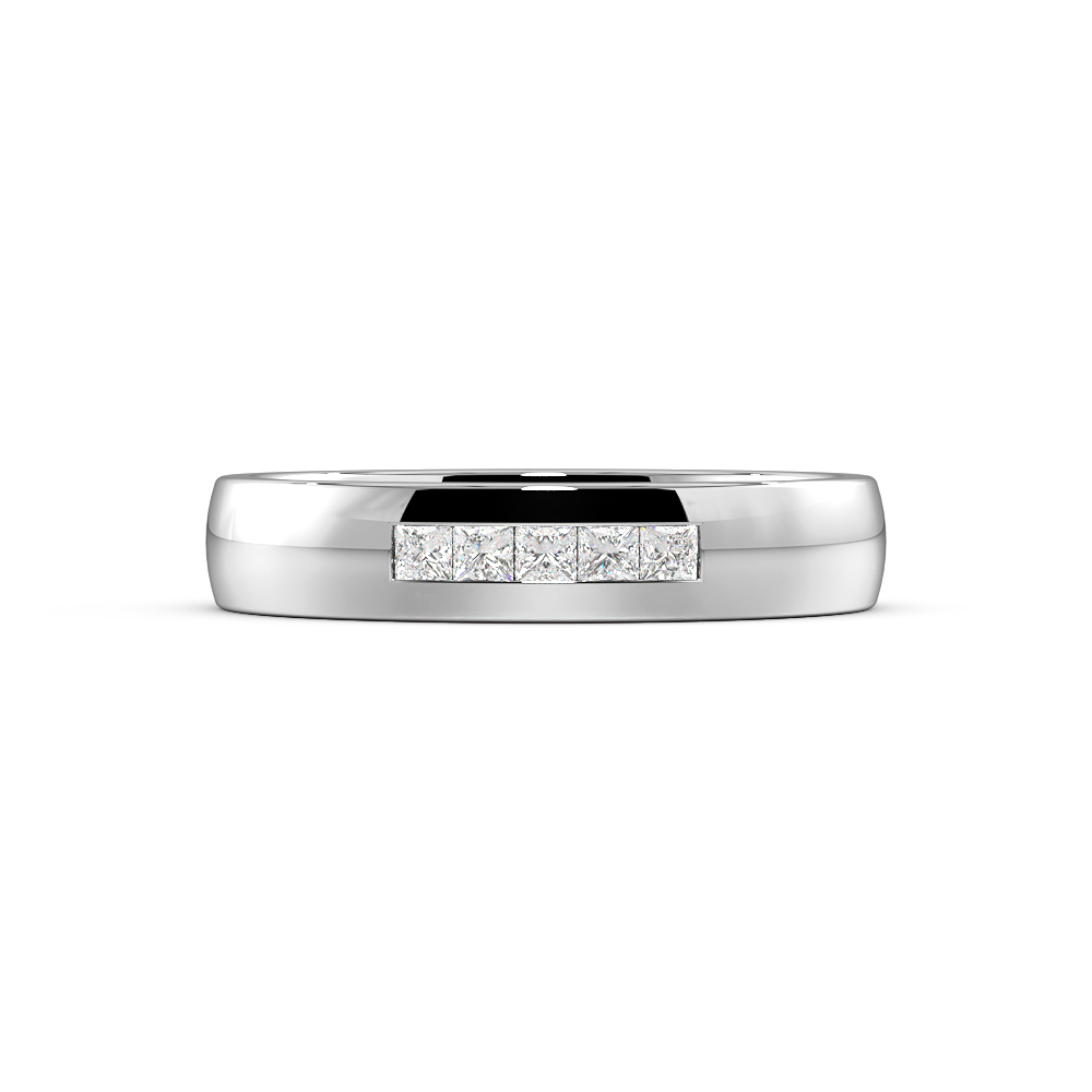 Channel Setting Rounded Flat Profile Wide Diamond Wedding Band