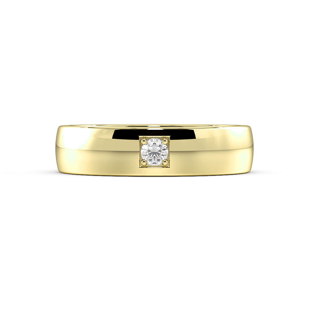 Pave Setting Single Diamond Flush Diamond White, Yellow & Rose Gold Wedding Ring (5.00mm)