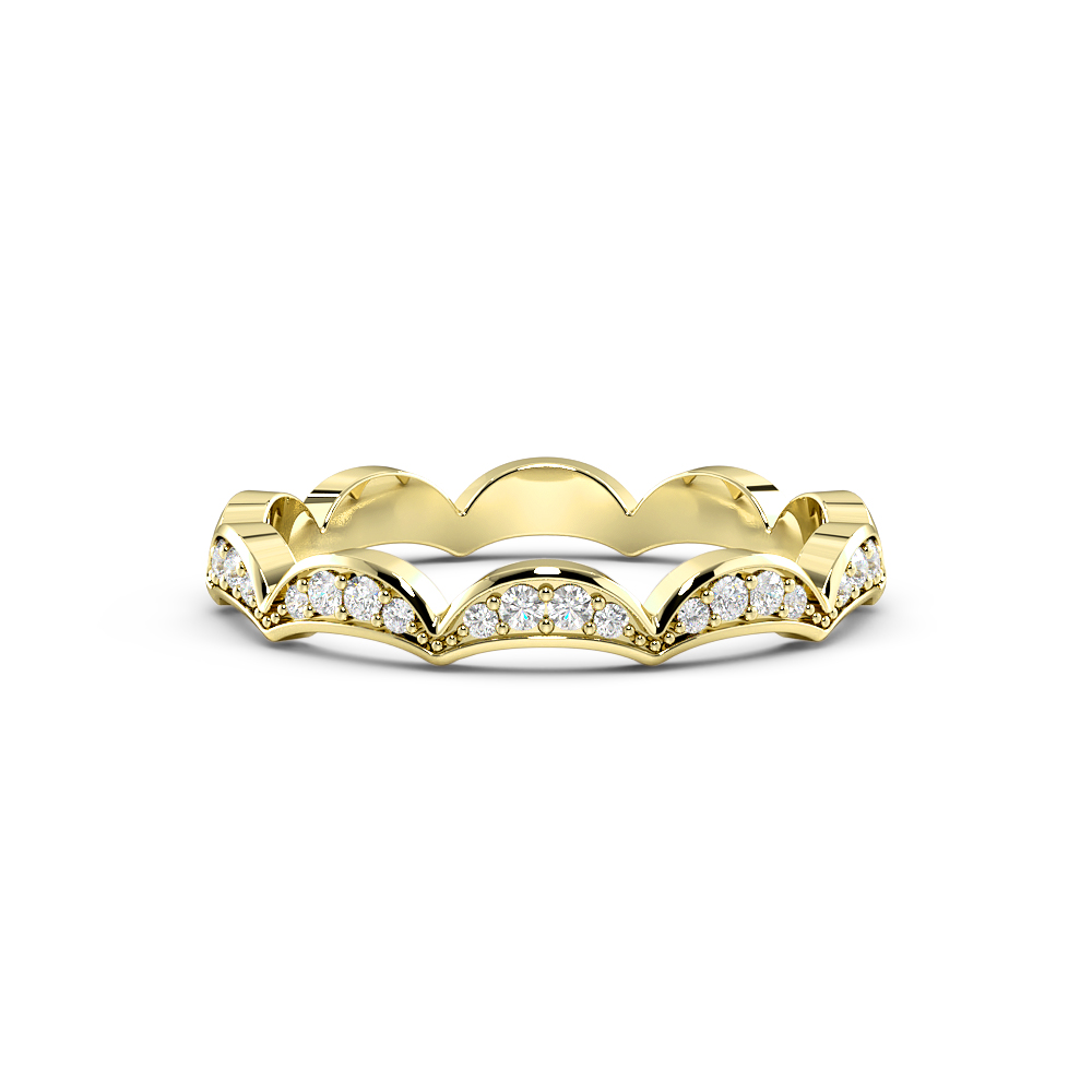 Pave Setting Wave Design Stackable Diamond Full Eternity Wedding Band (2.20mm)