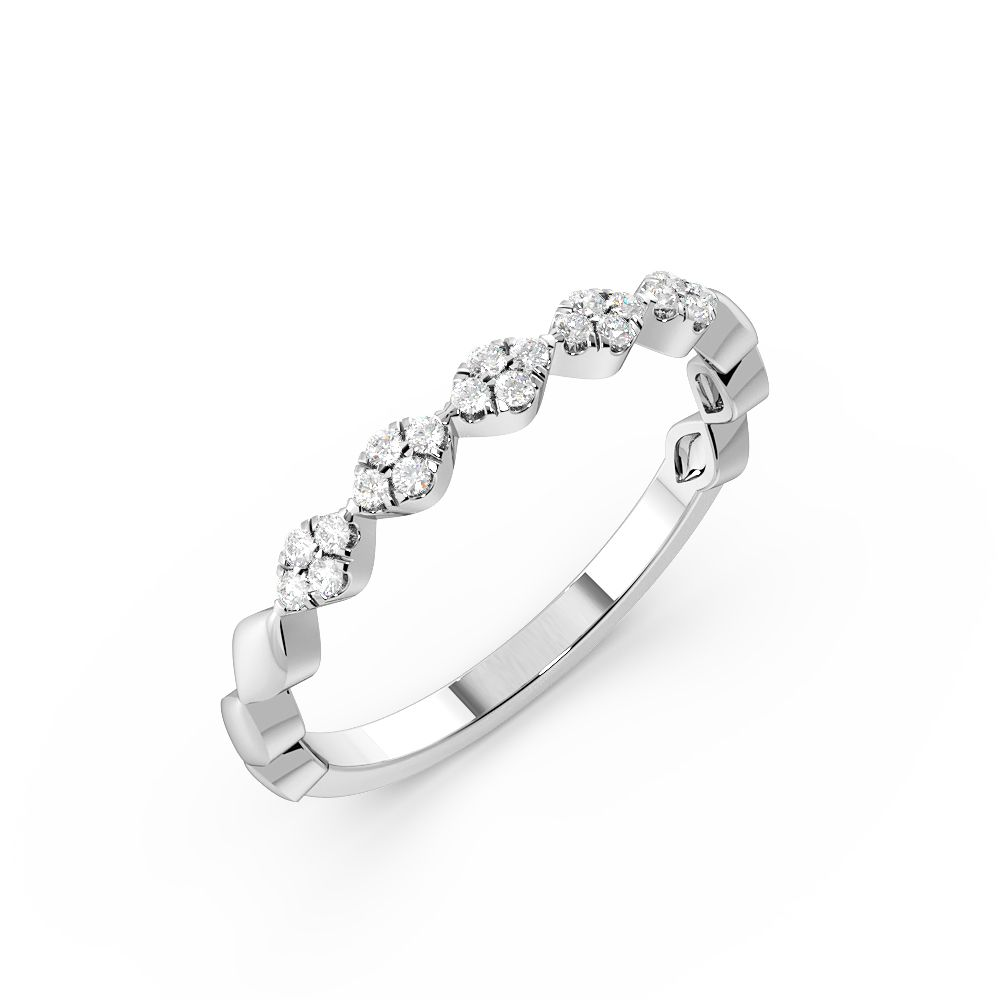 Pave Setting Zig Zag Stackable Fashion Diamond Half Eternity Ring (2.40mm)