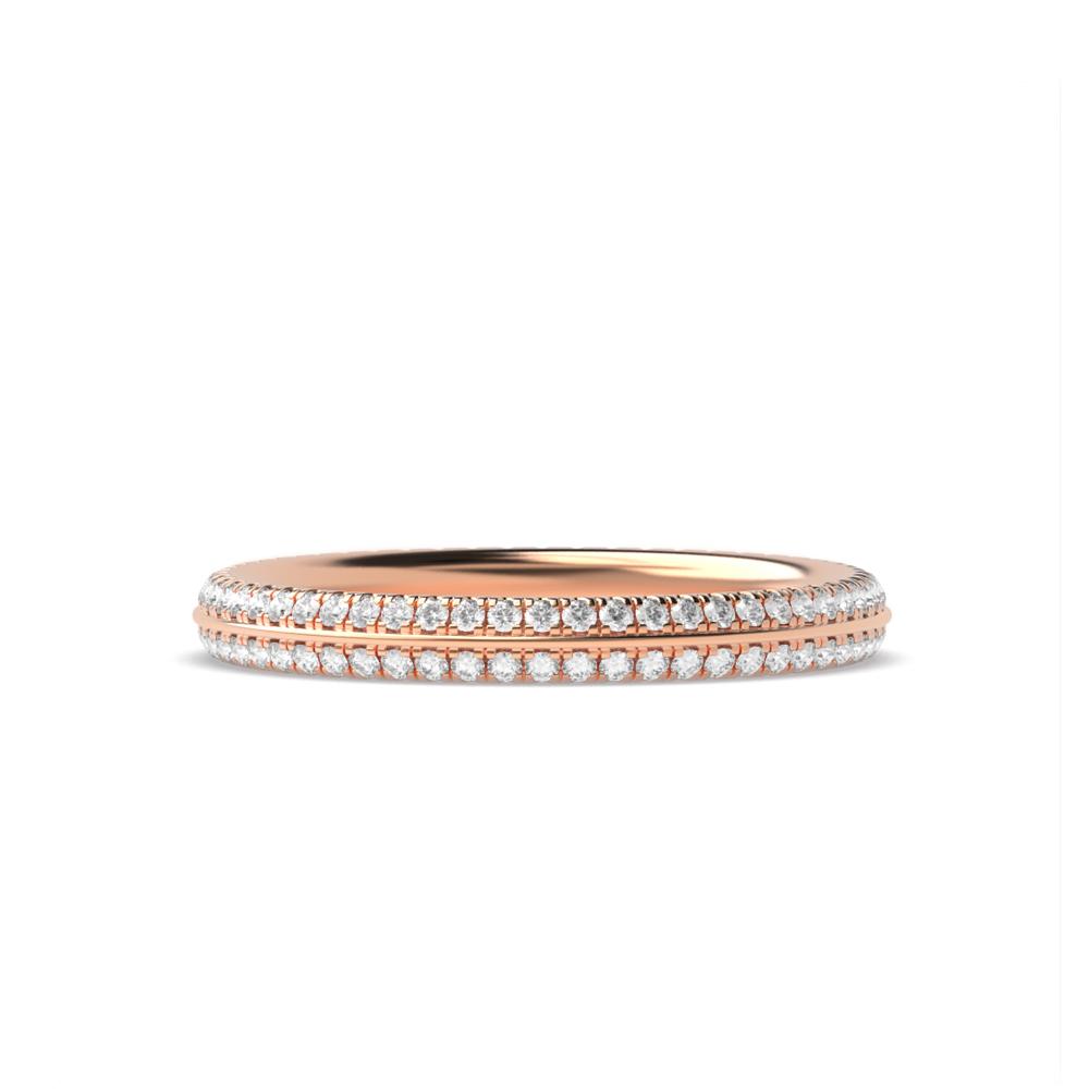 Pave Setting Knife Edge Diamond Full Eternity Wedding Ring (2.20mm)