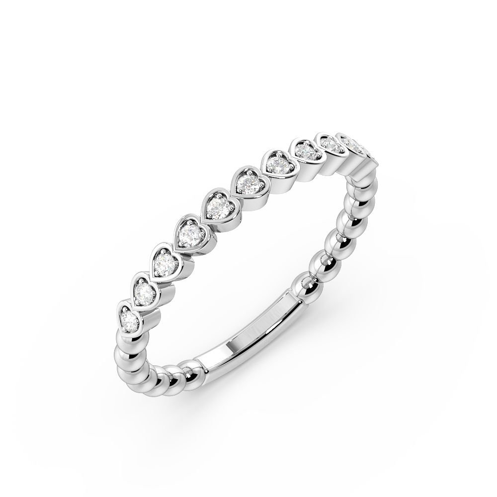 Pave Setting Heart Shape Stackable Diamond Half Eternity Ring (2.00mm)