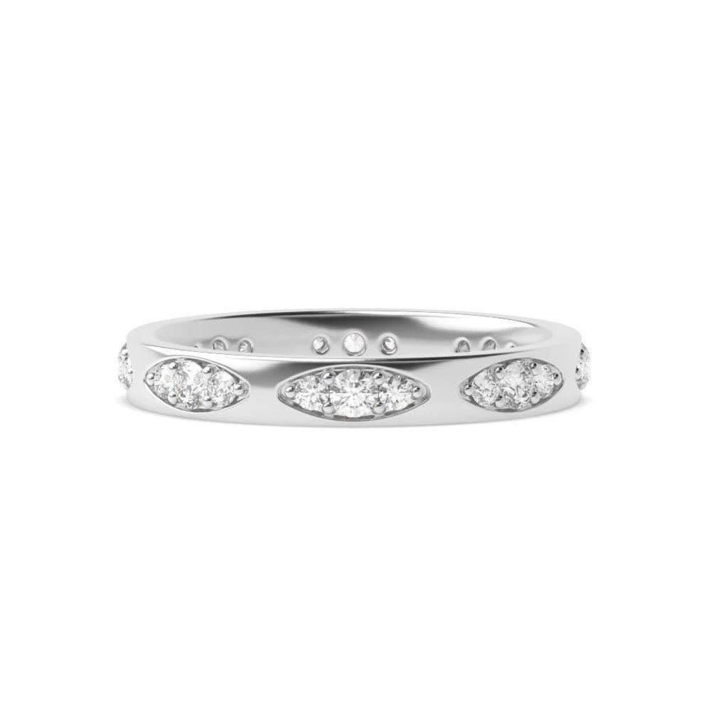 Pave Setting Marquise Shape Slot Diamond Full Eternity Wedding Ring (3.00mm)