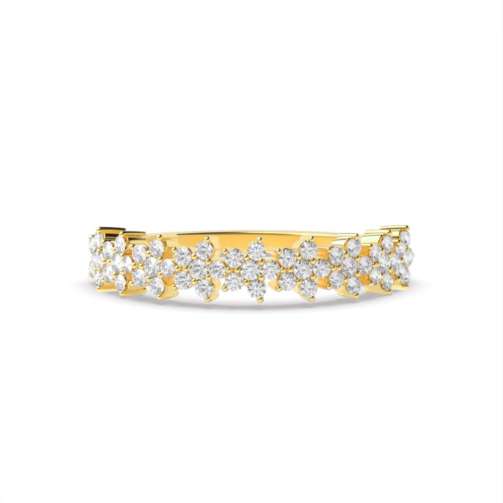 4 Prong Setting Star Cluster Diamond Half Eternity Ring for Her (4.20mm)