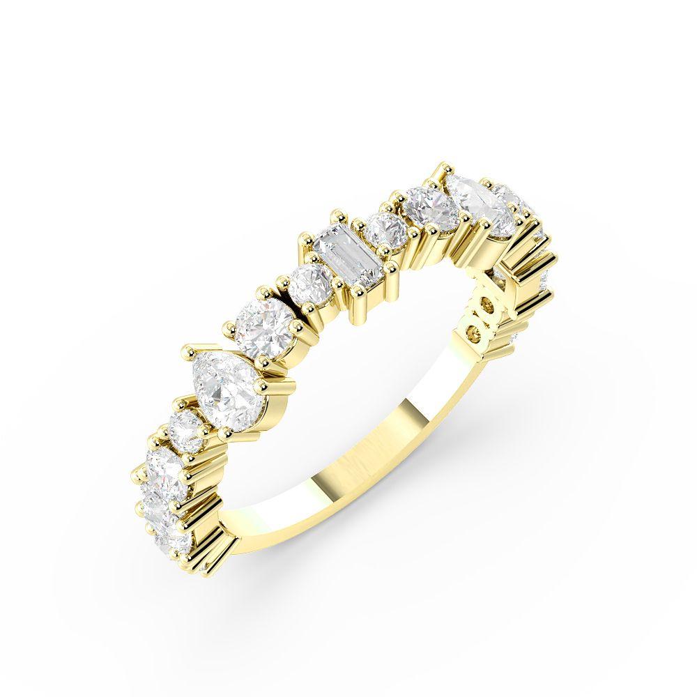 4 Prong Setting Mix Shape Unique Design Diamond Half Eternity Ring (4.50mm)