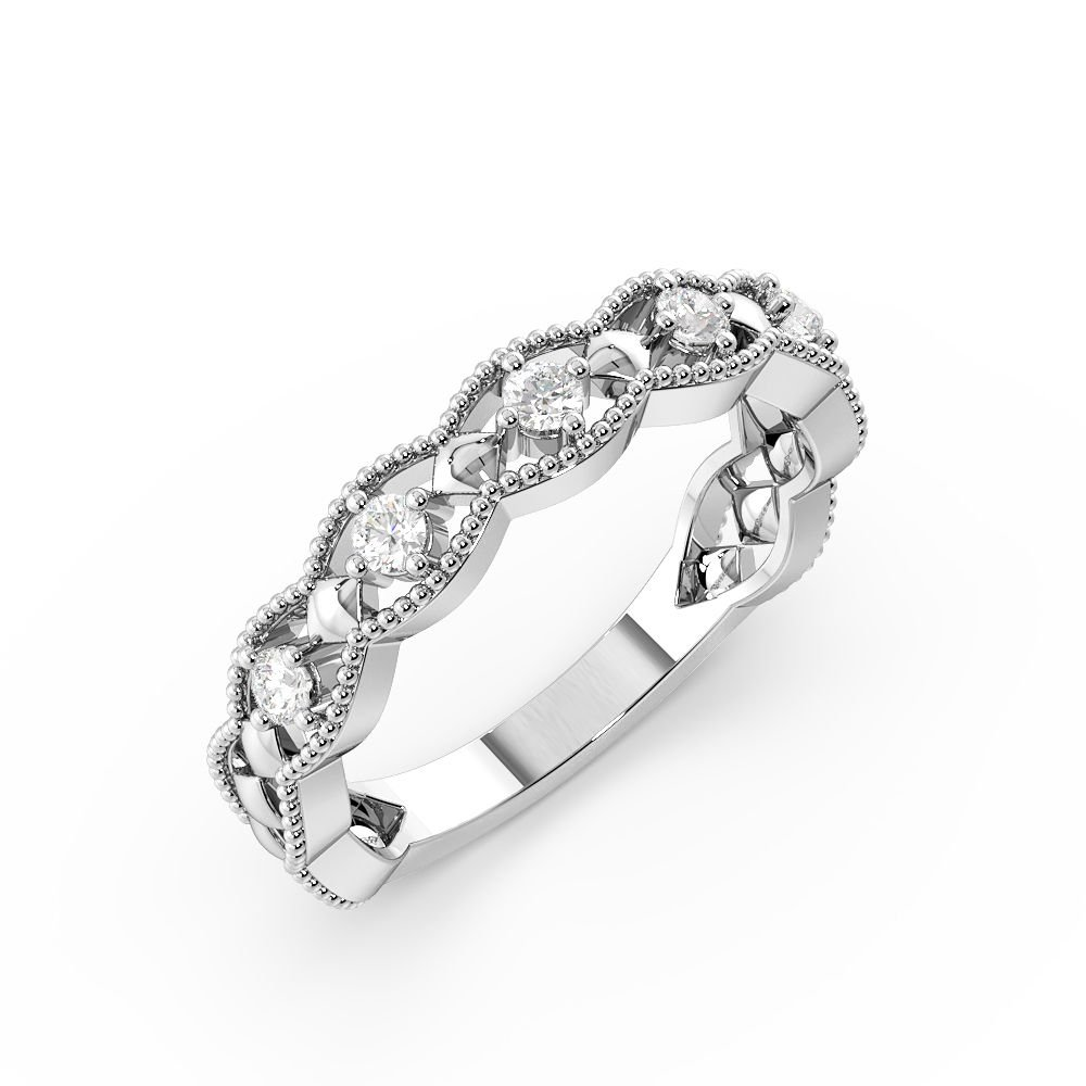 4 Prong Setting Vintage Art Deco Stackable Diamond Half Eternity Ring (4.00mm)