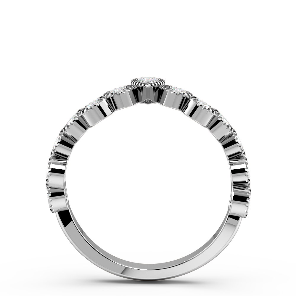 Pave Setting Round Shape Miligrain Unique Half Diamond Eternity Ring (6.20mm)