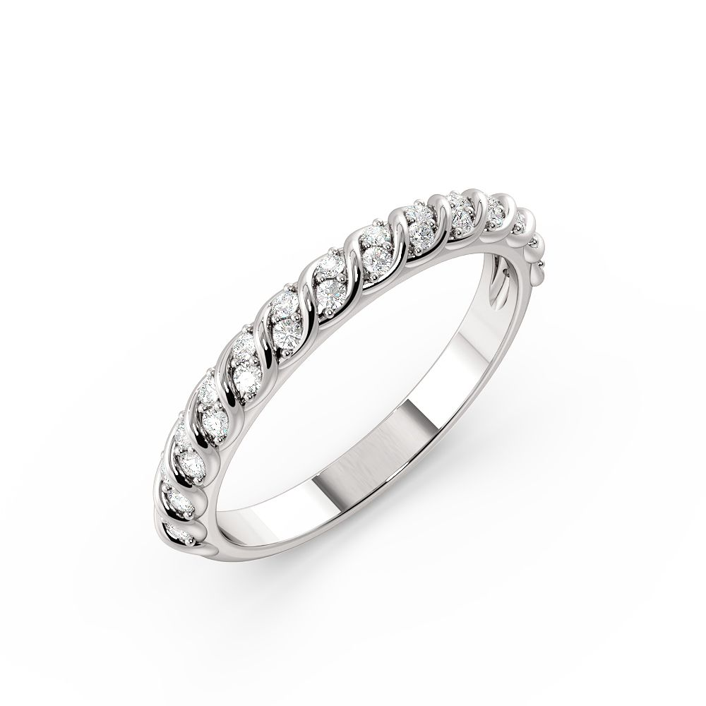 Pave Setting Round Shape Twisting Raw Full Diamond Eternity Ring (2.70mm)