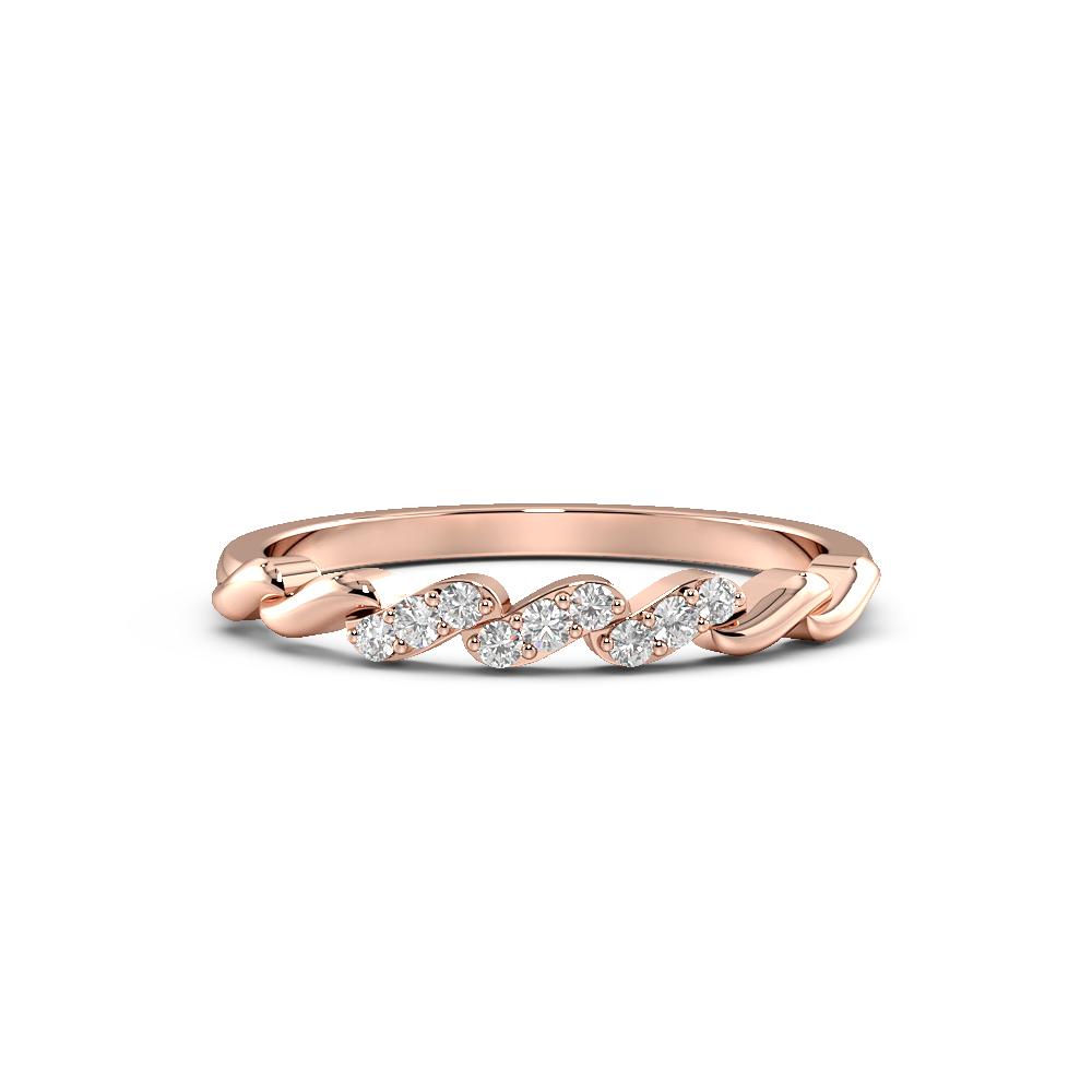 Round Shape Cross Bar Half Diamond Eternity Designer Ring (2.50mm)