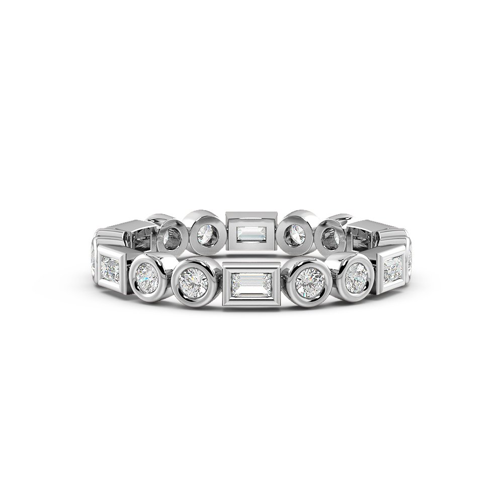 Bezel Setting Round & Baguette Unique Full Diamond Eternity Ring (2.50mm)