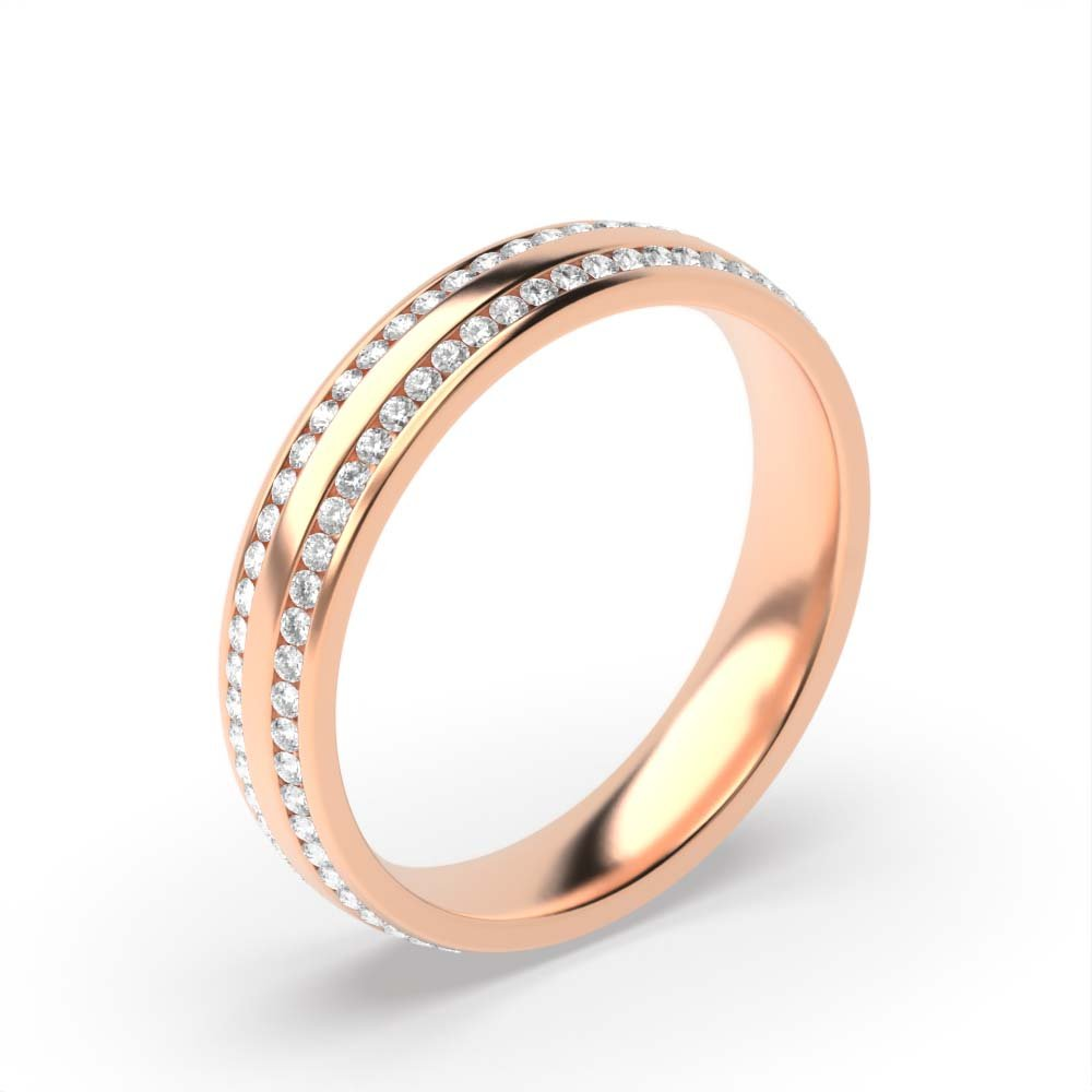 Channel Setting Round Shape 2 Raw Full Eternity Diamond Wedding Band (4.00mm)