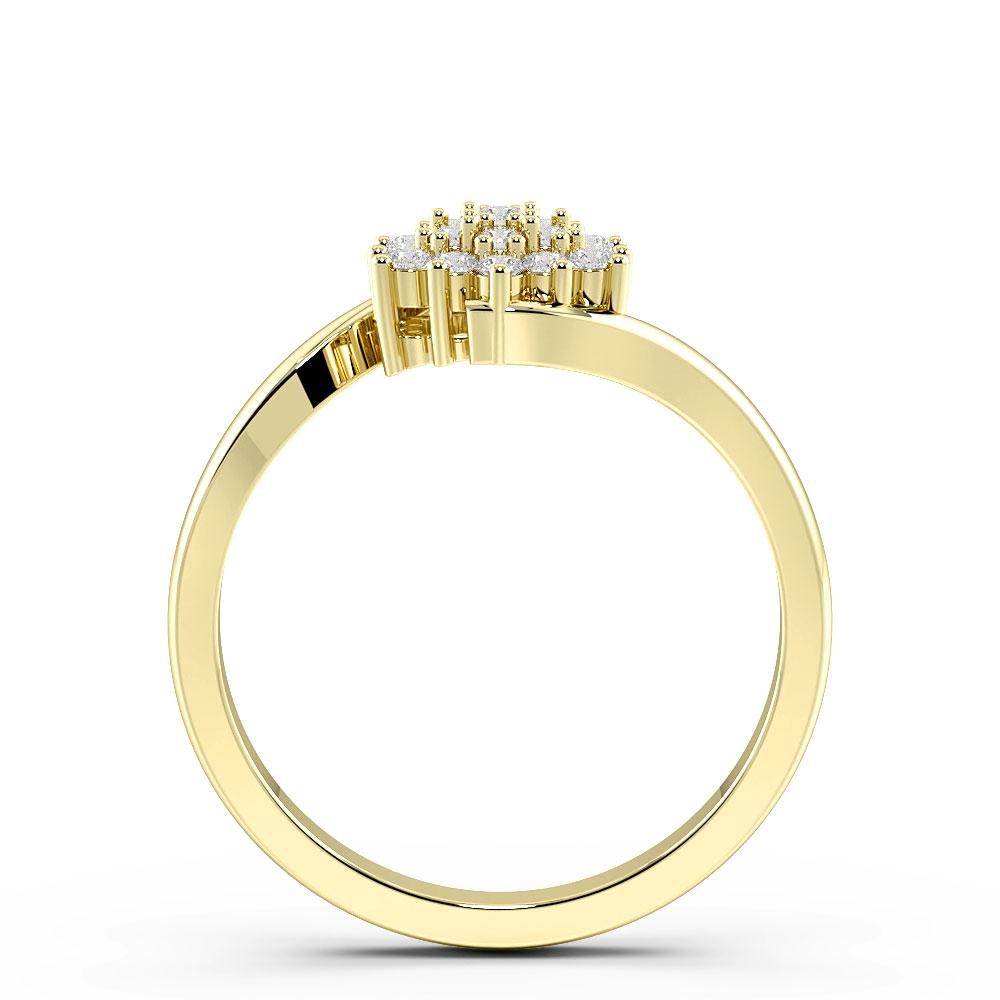 Round Pave Setting Twist Cluster Diamond Ring