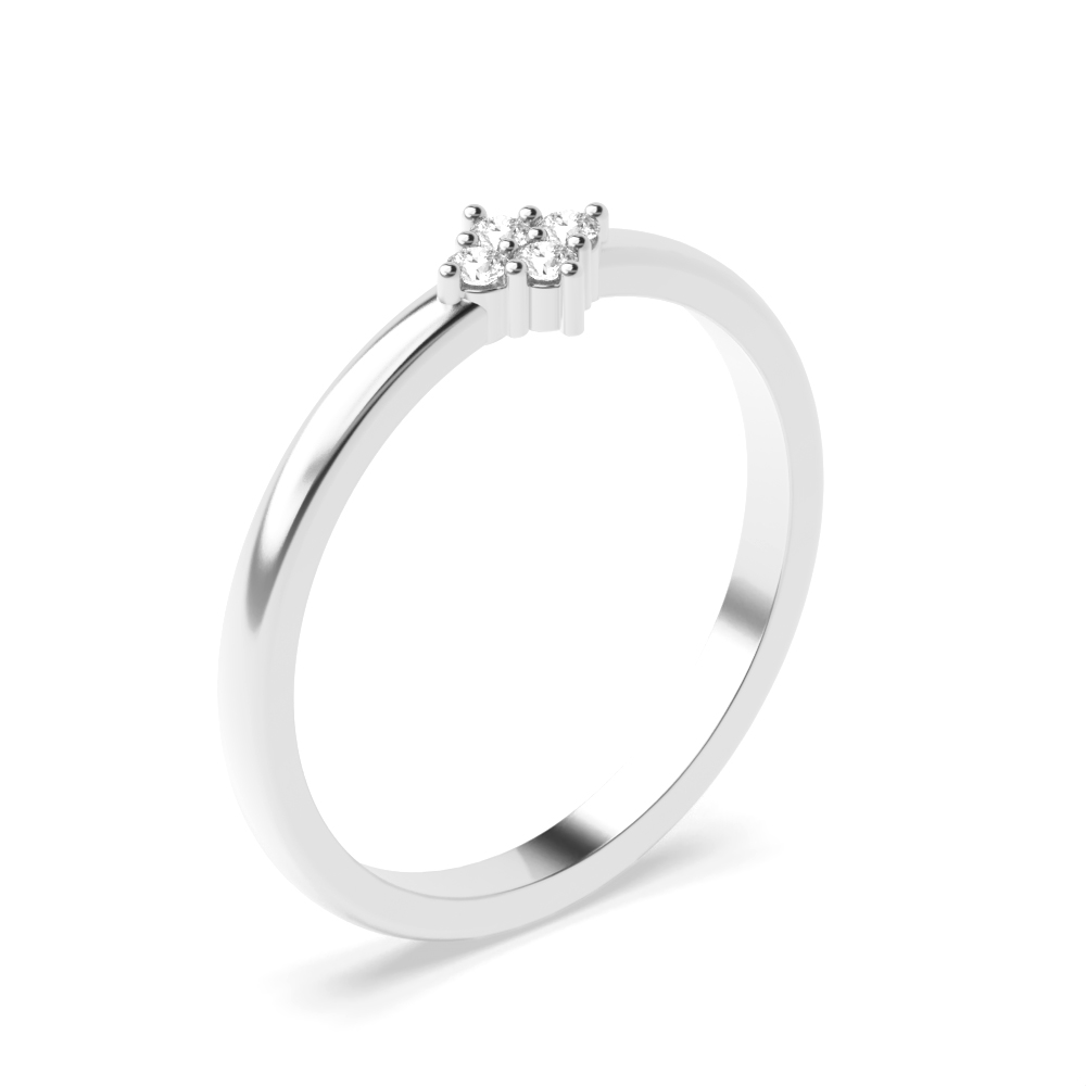 Round Pave Setting 4 Diamond Cluster Diamond Ring