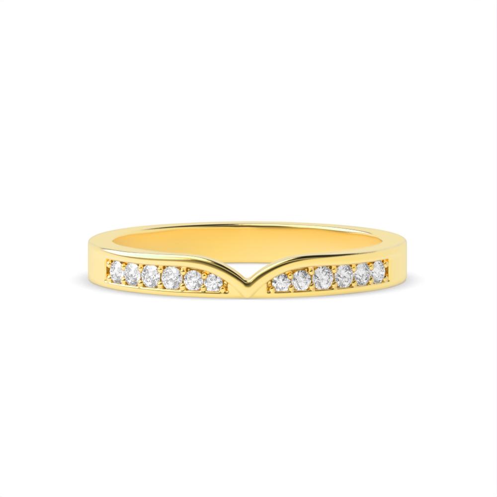 Pave Setting Round Shape Shapped Diamond Wedding Band (2.60mm)