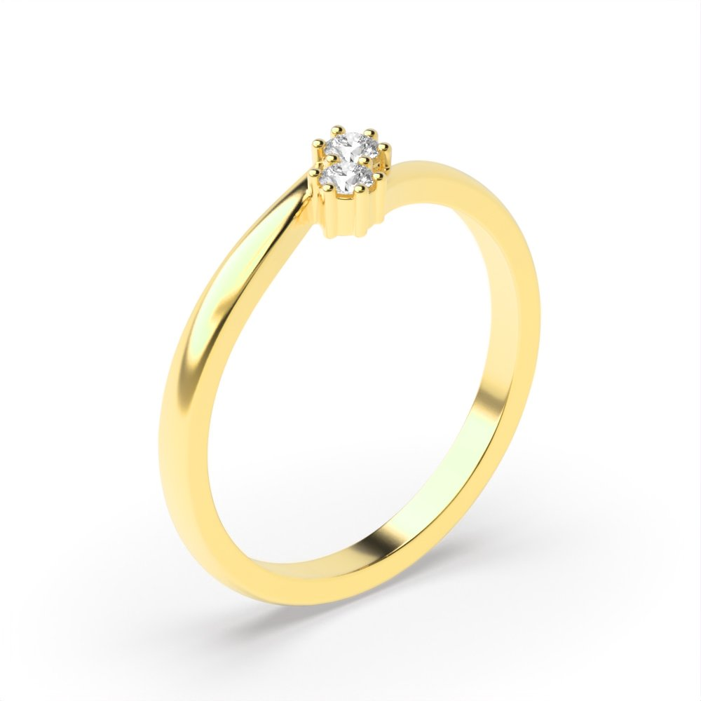 Round 4 Prong Twist Style Two Stone Diamond Ring