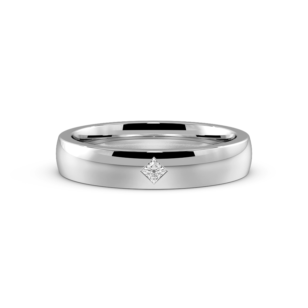Flush Setting Princess Shape Single Diamond Wedding Band (4.00mm)