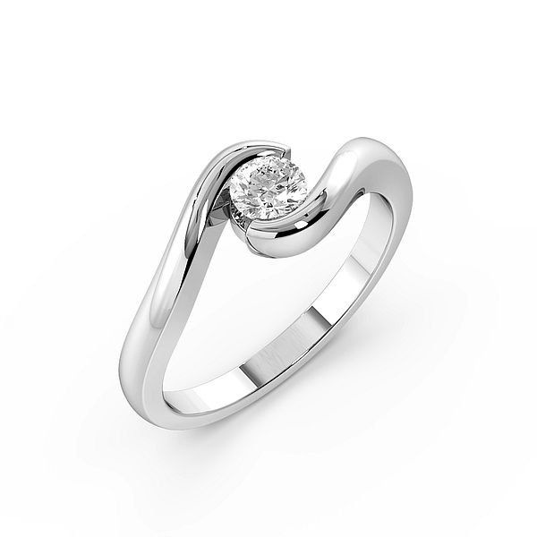 Round Channel Setting Twisted Solitaire Diamond Engagement Rings