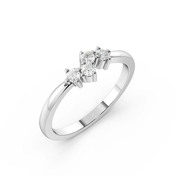Round 4 Prong Abstract Cluster Diamond Ring
