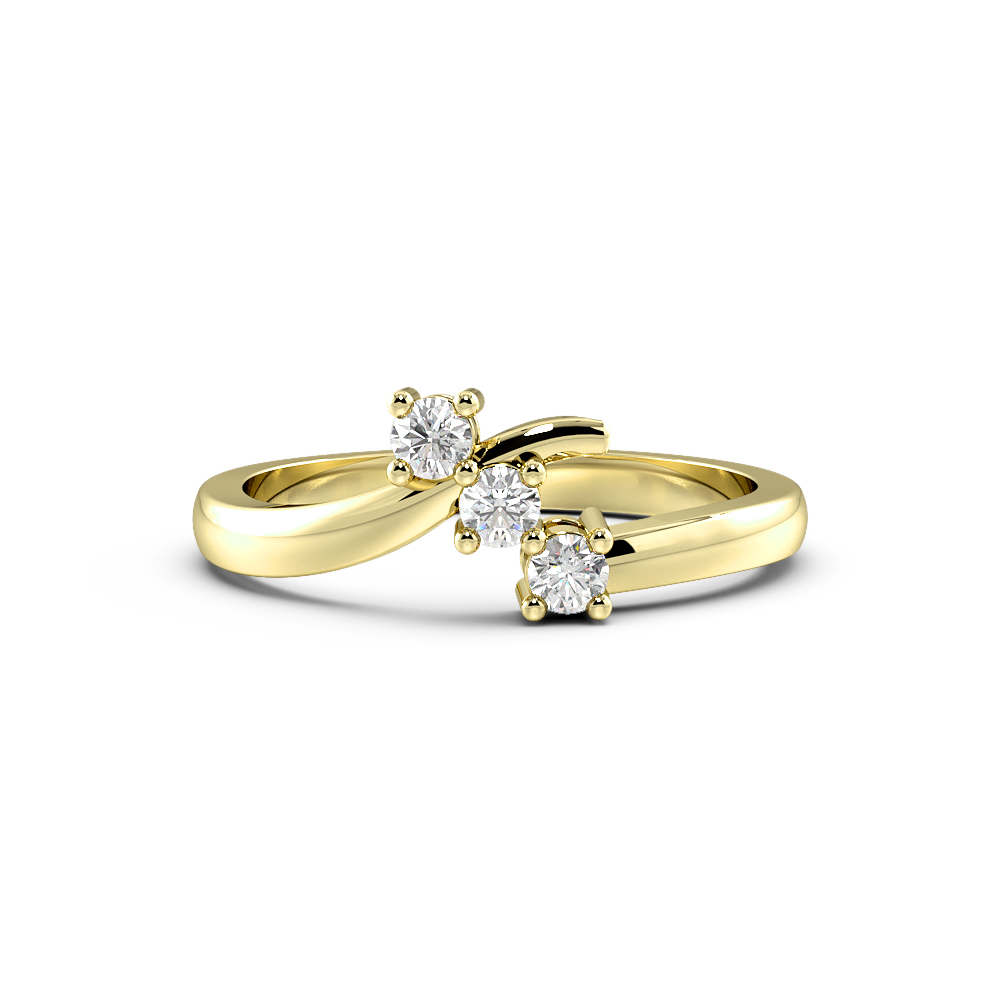 Round 4 Prong Unusual Trilogy Diamond Engagement Ring
