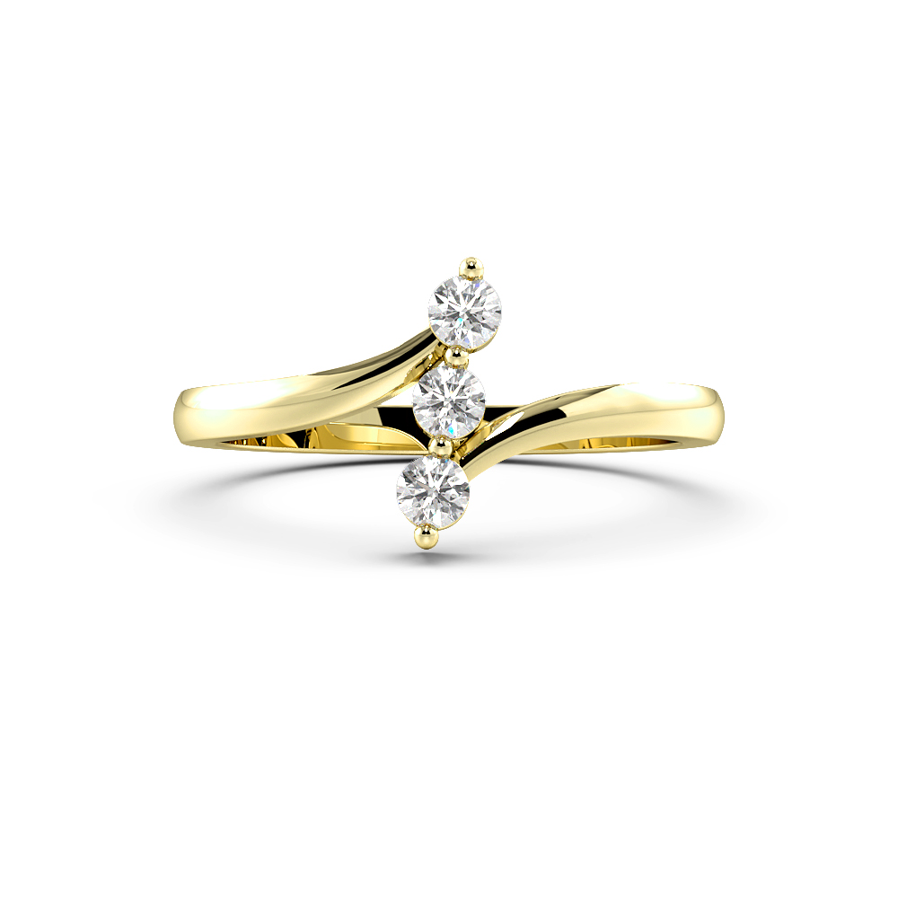 Round 4 Prong Vertical Line Trilogy Diamond Engagement Ring