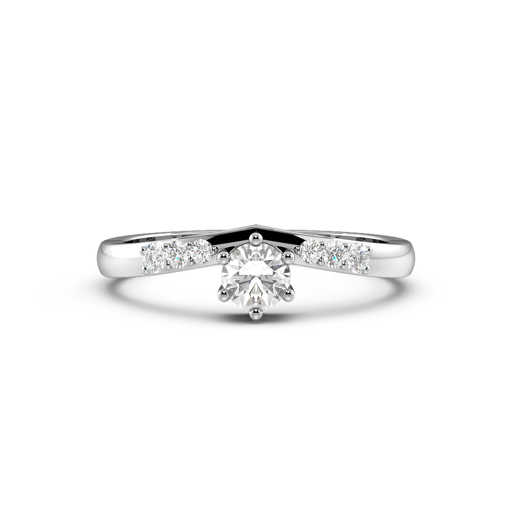Round 4 Prong Promise Side Stone Diamond Engagement Rings