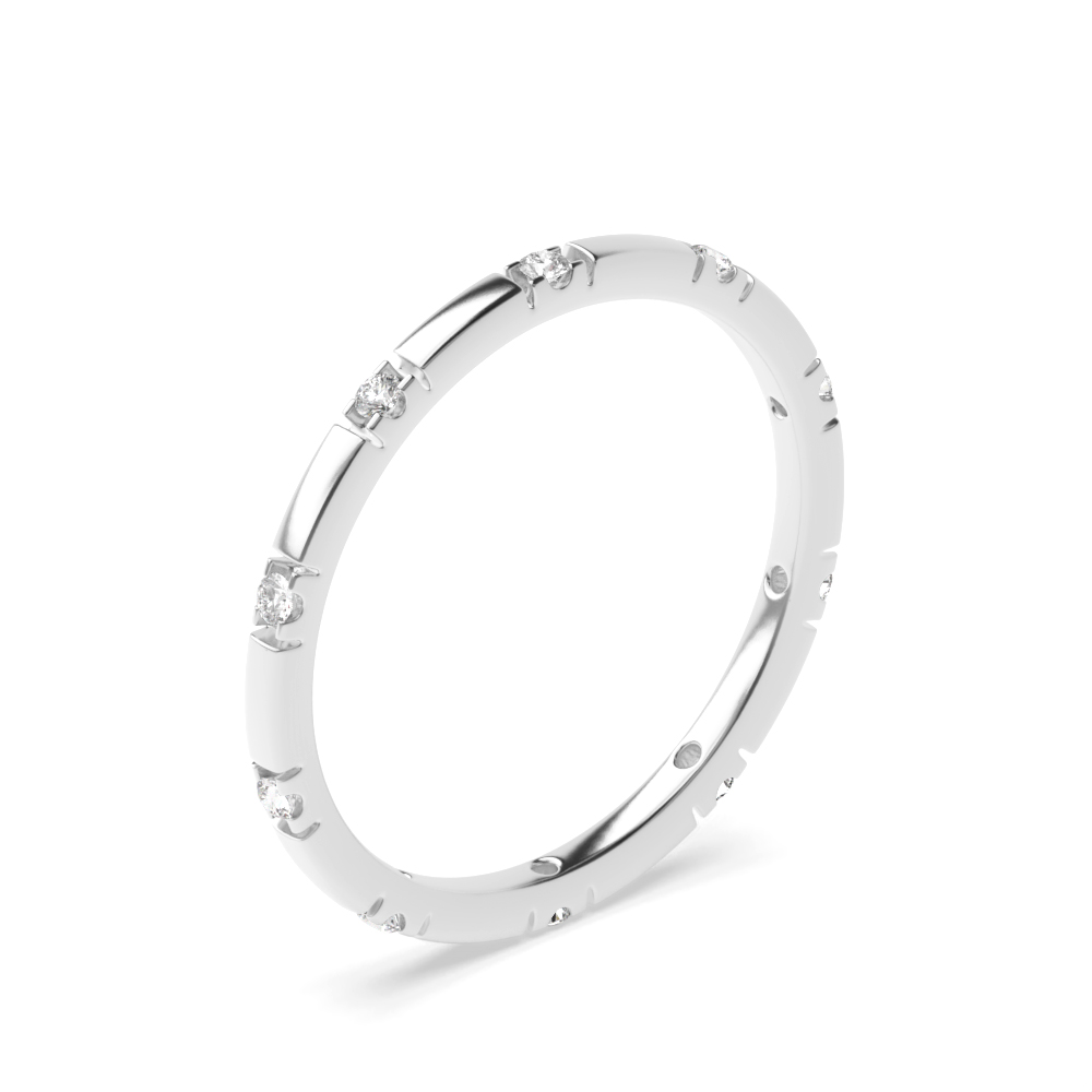 Round Shape Court Shape Diamond Wedding Band (1.50mm)