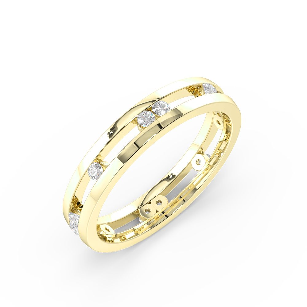 Channel Setting Round Shape Stylish Diamond Wedding Ring (3.80mm)