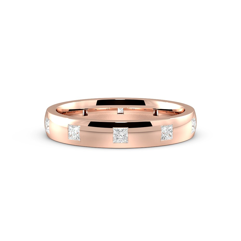 Flush Setting Princess Shape Classic Diamond Wedding Ring (3.50mm)