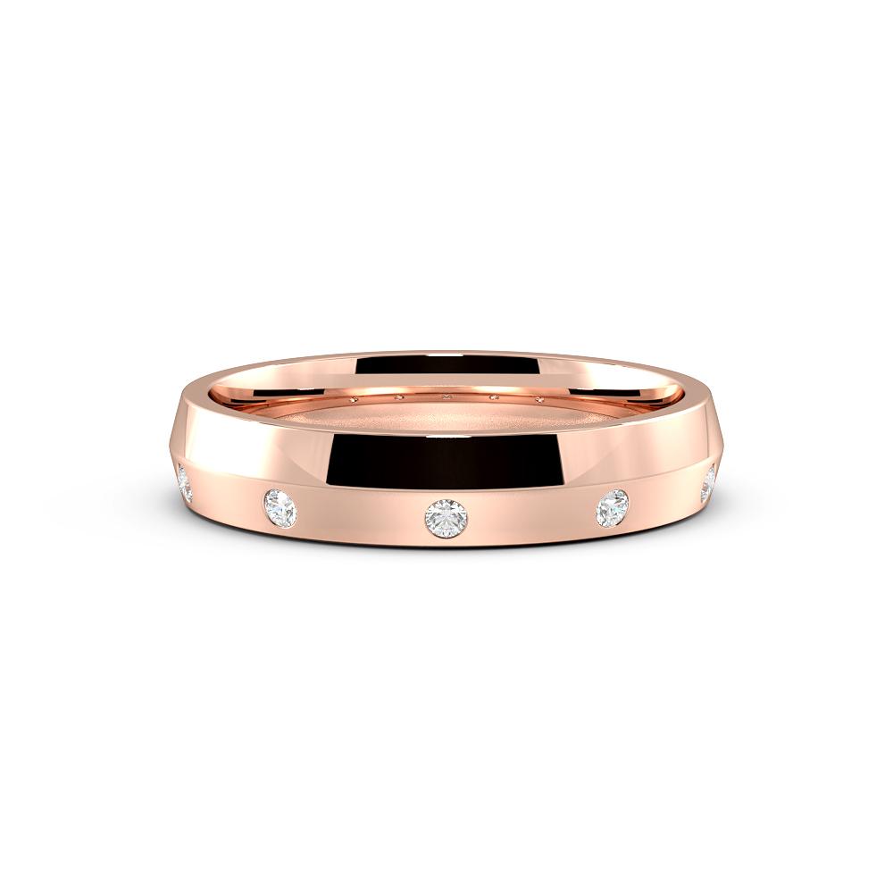 Round flush Setting Knief Edge Womens Diamond Wedding Rings