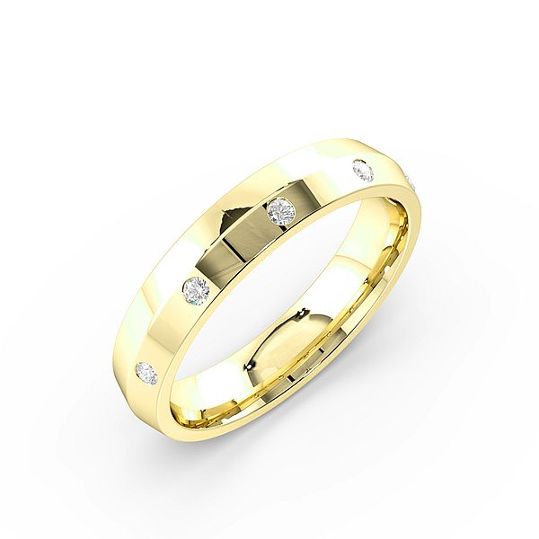 Round flush Setting Knief Edge Womens Diamond Wedding Rings