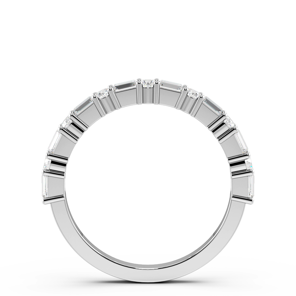 Baguette And Round 4 Prong Petit Half Eternity Diamond Ring