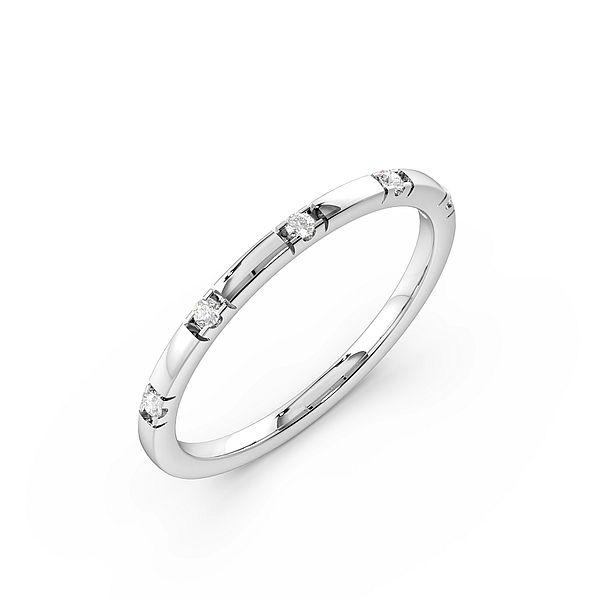 Round Channel Setting Thin Womens Diamond Wedding Rings