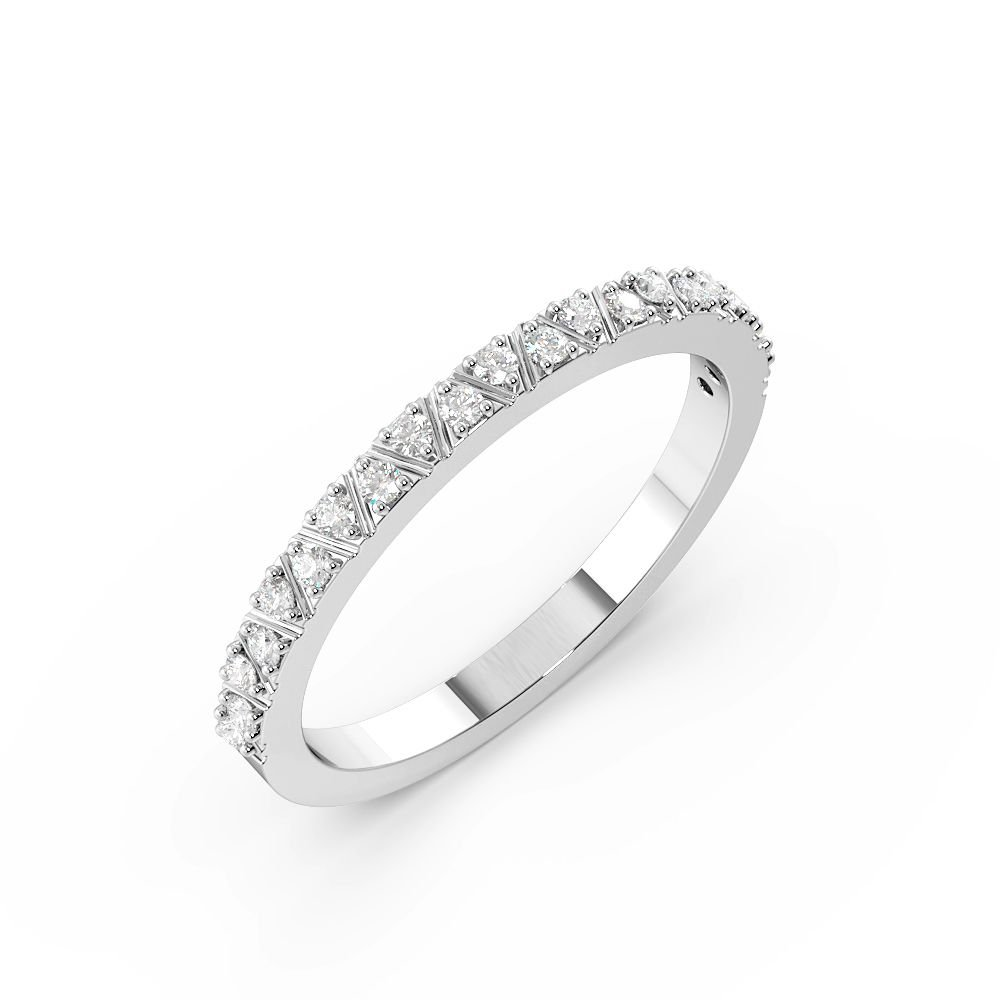 Pave Setting Round Shape Zig Zag Lines Half Diamond Eternity Ring (1.80mm)