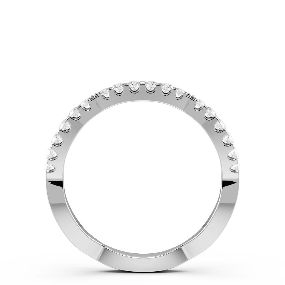 Pave Setting Round Shape Wavy Half Diamond Eternity Ring (1.60mm)