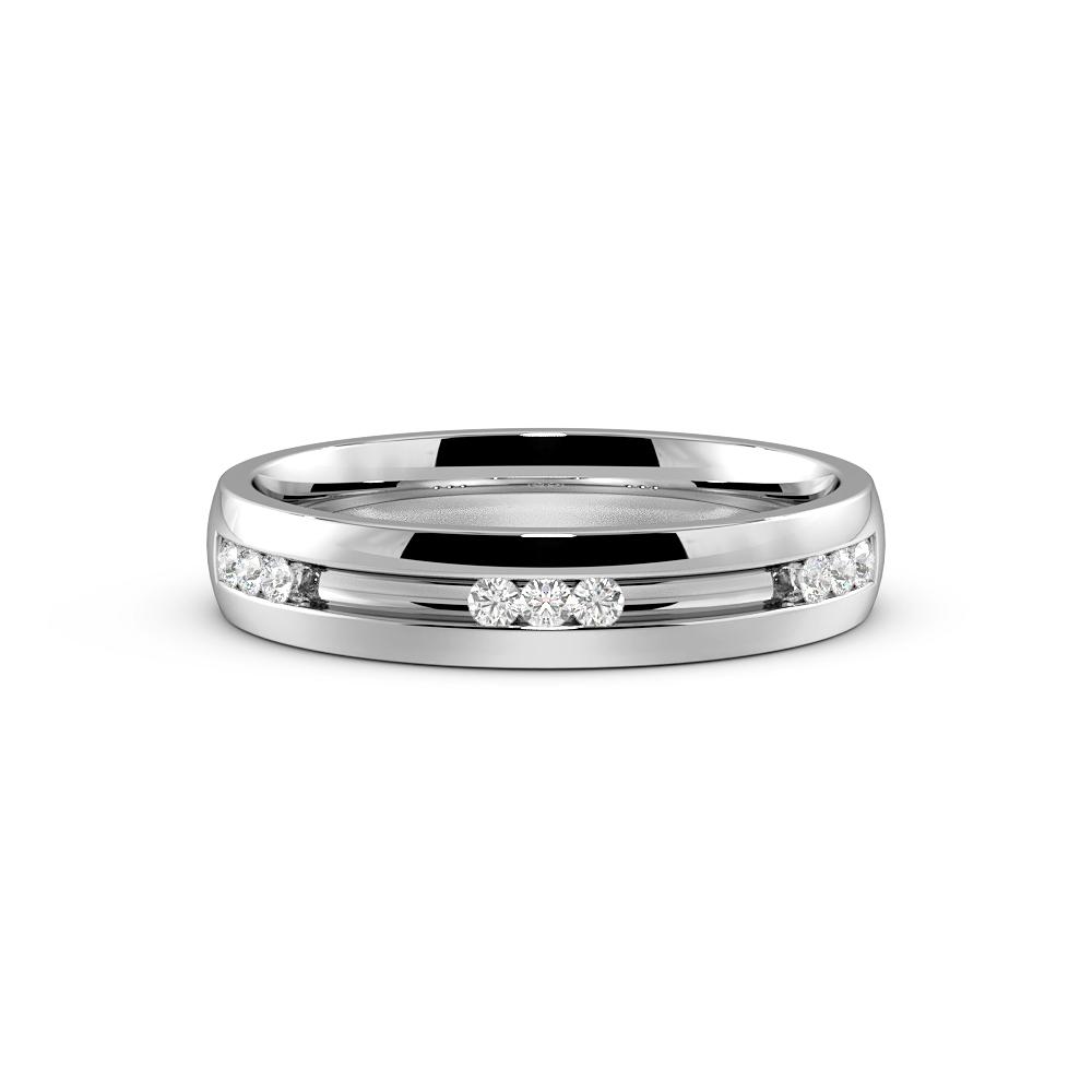 Channel Setting Round Shape Mens Diamond Wedding Ring (4.00mm)