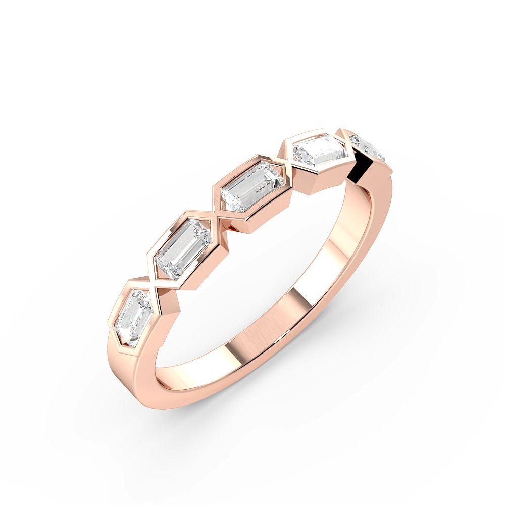 Channel Setting Emerald Shape Designer Half Diamond Eternity Ring (3.00mm)