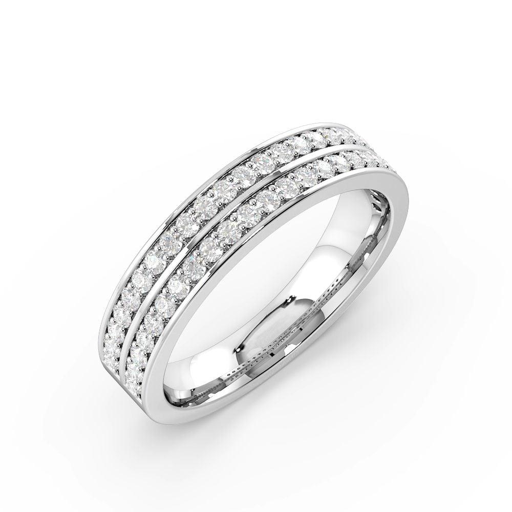 Pave Setting Round Shape 2 Raw Full Diamond Eternity Ring (4.50mm)