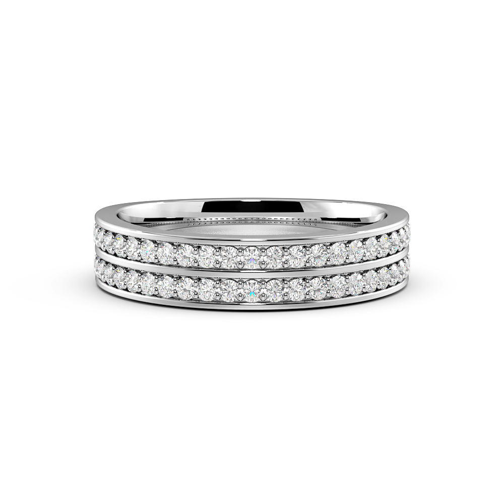 Pave Setting Round Shape 2 Raw Full Diamond Eternity Ring (4.50mm)