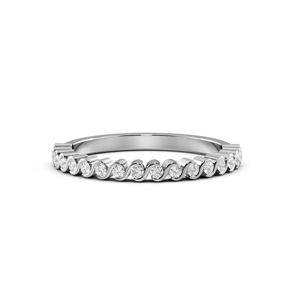 Pave Setting Round Shape S-Link Delicate Half Diamond Eternity Ring (1.90mm)