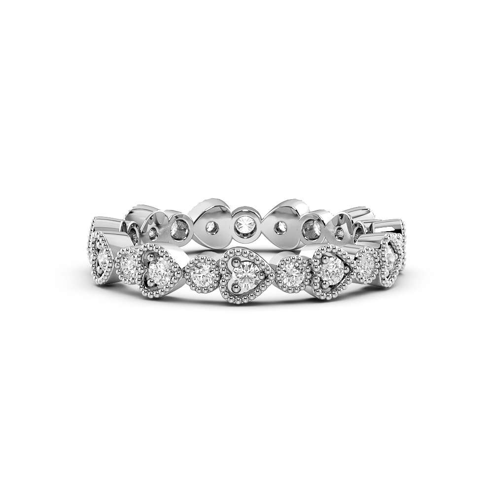 Pave Setting Round Shape Miligrain Heart and Round  Full Diamond Eternity Ring (3.20mm)