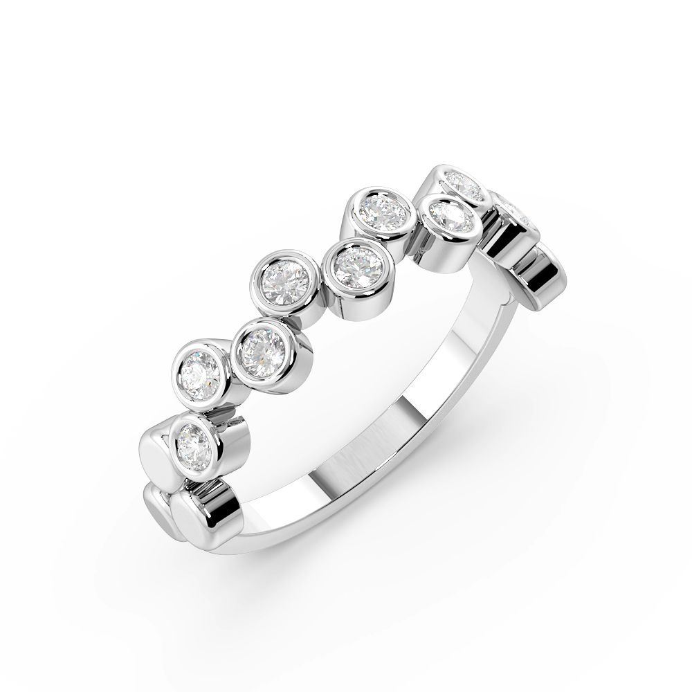 Bezel Setting Round Shape Zig Zag Half Diamond Eternity Ring (4.50mm)