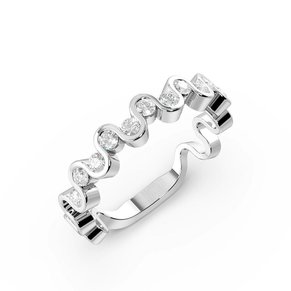 Channel Setting Round Shape Designer Wave Half Diamond Eternity Ring (3.70mm)