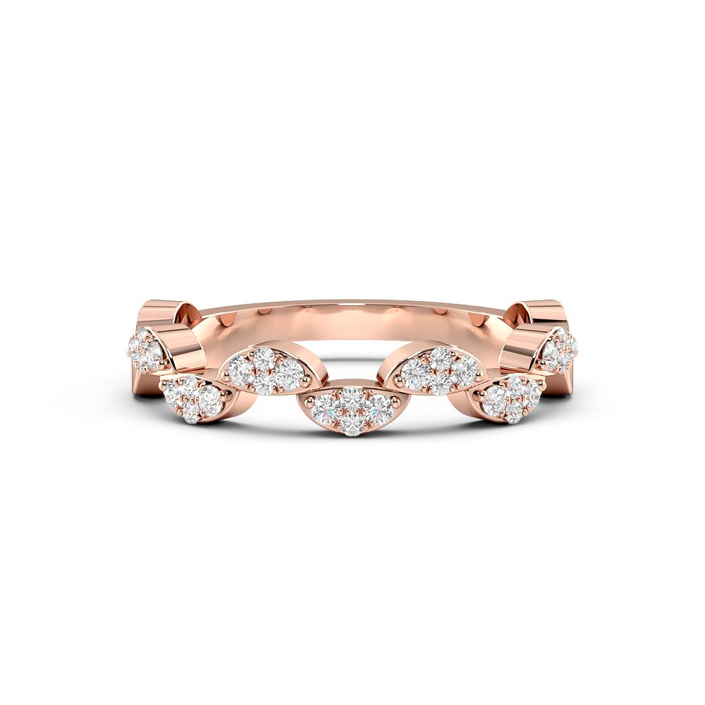 Pave Setting Round Shape Zig Zag Cluster Half Diamond Eternity Ring (3.60mm)