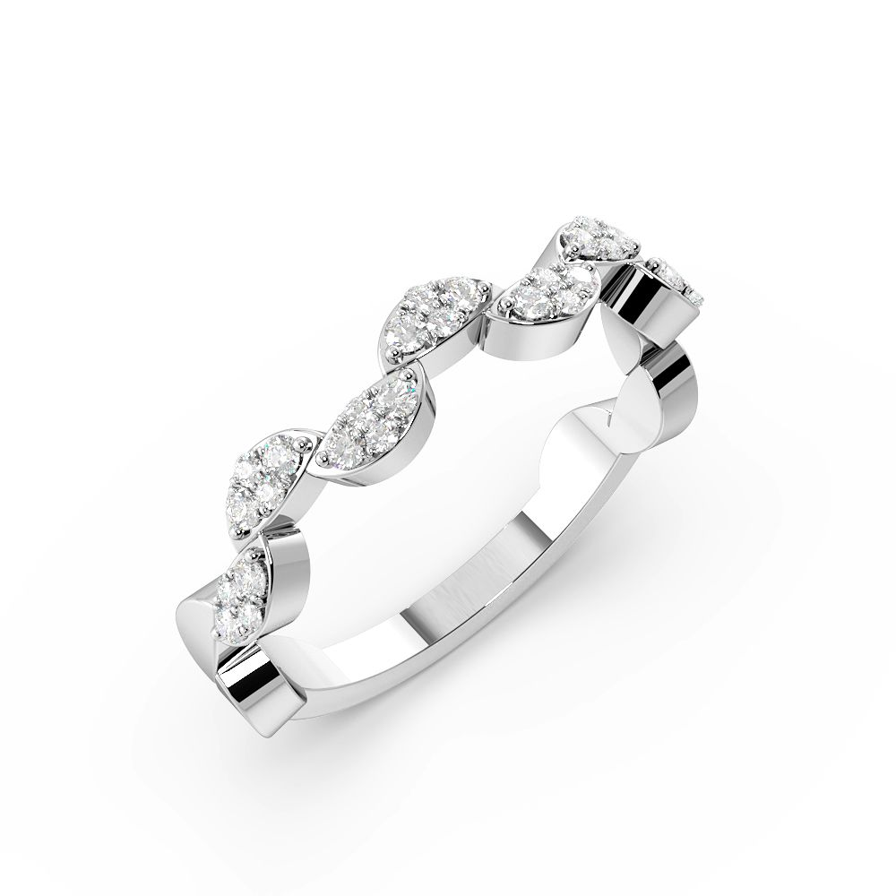 Pave Setting Round Shape Zig Zag Cluster Half Diamond Eternity Ring (3.60mm)