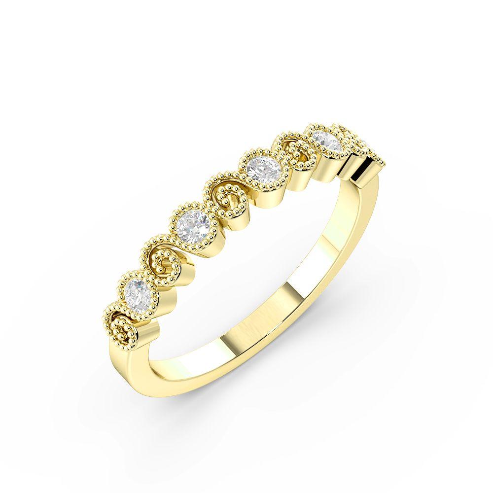 Bezel Setting Round Shape Delicate Stylish Half Diamond Eternity Ring (2.80mm)