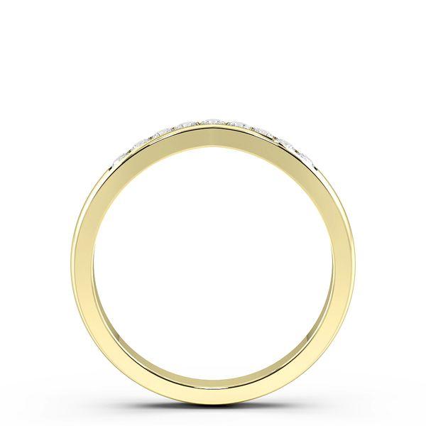 Round Shape Channel Setting V Shaped Wishbone Wedding Band (2.50mm)