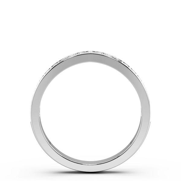 Round Shape Pave Setting V Shaped Wishbone Wedding Band (2.50mm)