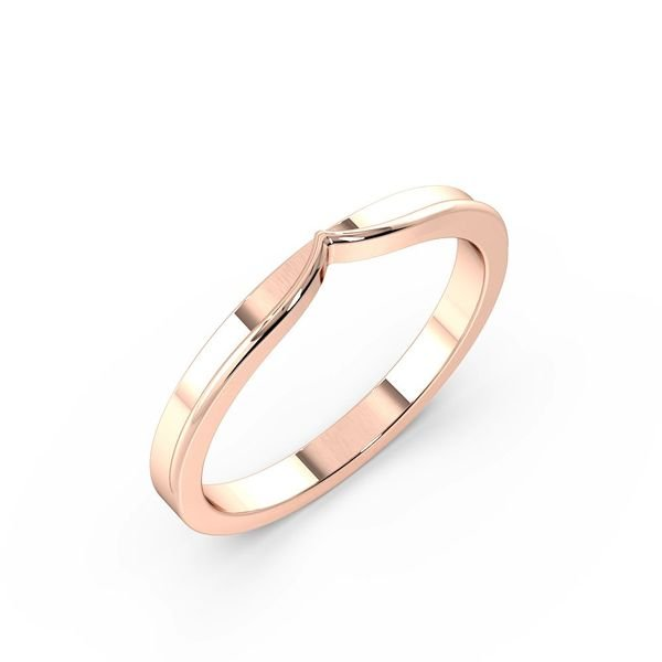 Plain Side V Shape With Channel Shaped Wedding Band (2.00mm)