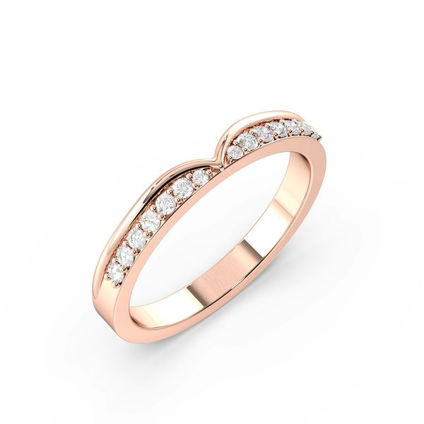 Round Shape Pave Setting Side Channel Shaped Wedding Band (2.50mm)