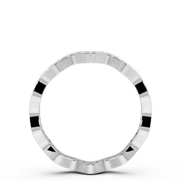 Round Shape Pave Setting Wavy Shaped Wedding Band (2.20mm)